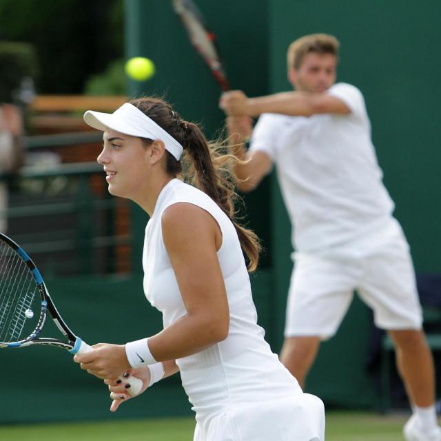Ana Konjuh i Nikola Mektić u Wimbledonu 2017. godine foto: Tonči Vlašić