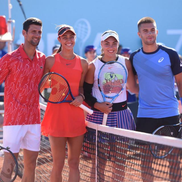Novak Đoković, Olga Danilović, Borna Ćorić i Ana Konjuh foto: Jure Mišković / CROPIX