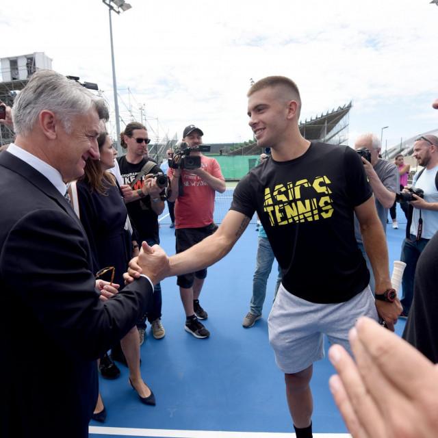 Zadarski župan Božidar Longin i Borna Ćorić na svečanom otvorenju Regionalnog teniskog centra Hrvatskog teniskog saveza na Višnjiku