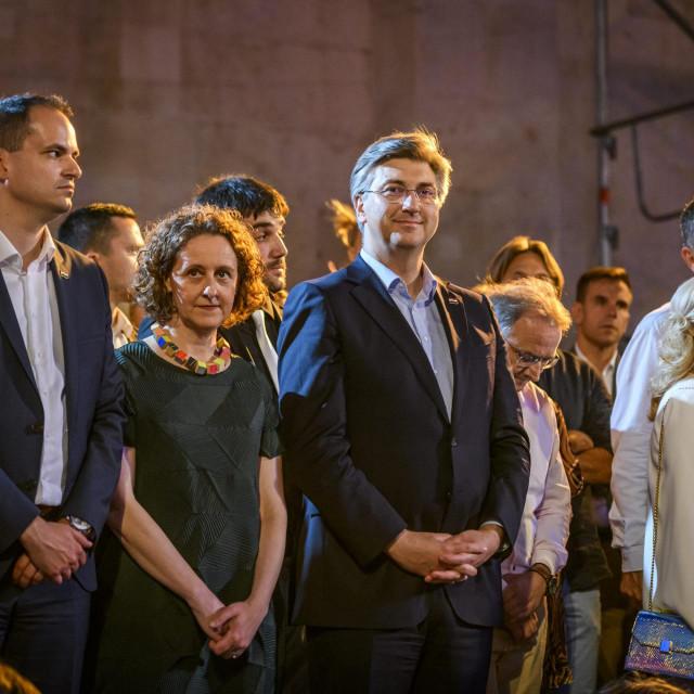 <br /> <br /> Ivan Malenica na otvorenju 60. MDF-a (prvi lijevo) pratio je premijera Andreja Plenkovića i ministricu kulture Ninu Obuljen Koržinek