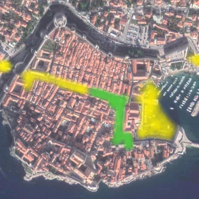 Dosadašnja pokrivenost internetom stare gradske jezgre (zeleno), pokriveno projektom (žuto)