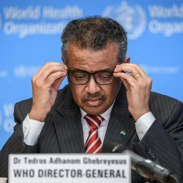 CORRECTION - World Health Organization (WHO) Director-General Tedros Adhanom Ghebreyesus attends a daily press briefing on COVID-19 virus at the WHO headquaters on March 11, 2020 in Geneva. - WHO Director-General Tedros Adhanom Ghebreyesus announced on March 11, 2020 that the new coronavirus outbreak can now be characterised as a pandemic. (Photo by Fabrice COFFRINI/AFP)/�The erroneous mention appearing in the metadata of this photo by Fabrice COFFRINI has been modified in AFP systems in the following manner: MARCH 11 instead of MARCH 9. Please immediately remove the erroneous mention from all your online services and delete it from your servers. If you have been authorized by AFP to distribute it to third parties, please ensure that the same actions are carried out by them. Failure to promptly comply with these instructions will entail liability on your part for any continued or post notification usage. Therefore we thank you very much for all your attention and prompt action. We are sorry for the inconvenience this notification may cause and remain at your disposal for any further information you may require.�