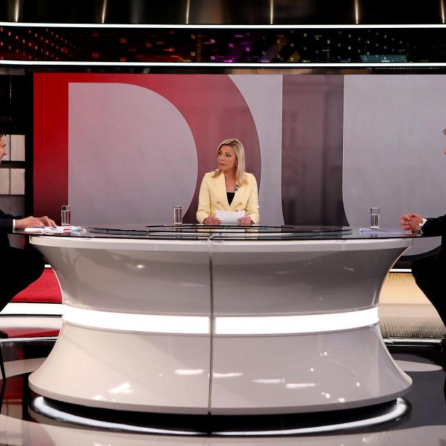Suceljavanje predsjednika HDZ-a Andreja Plenkovica i sefa SDP-a i Restart koalicijei Davora Bernardica na RTL televiziji uoci parlamentarnih izbora.<br /> Na fotografiji: Davor Bernardic, Damira Gregoret i Andrej Plenkovic.<br />