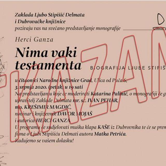 O novom datumu predstavljanja monografije o Ljubi Stipišiću Delmati Dubrovačke knjižnice će pravovremeno izvijestiti javnost