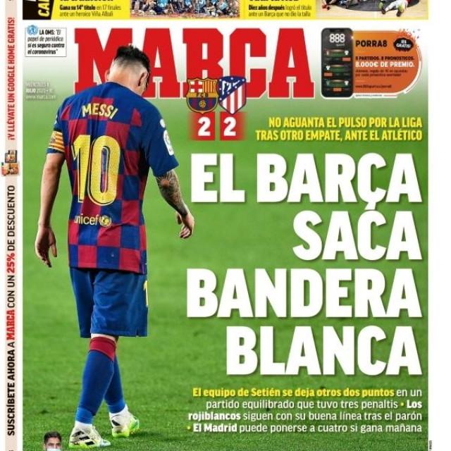 Naslovnica Marce u srijedu, 1. srpnja 2020. - dvije tuge Barcelone, nogometna (Messi, Rakitić i ekipa su sve dalje i dalje od naslova prvaka) i košarkaška (Baskonija je dobila u finalu Tomića i ekipu)