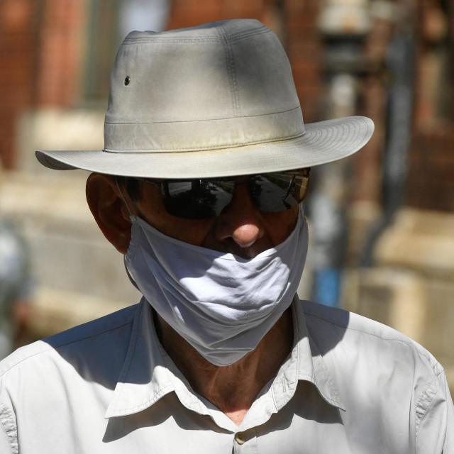 Zagreb, 270620.<br /> Centar grada.<br /> Zbog povecanja broja zarazenih koronavirusom gradjani su poceli sve vise nositi maske i na otvorenom prostoru.<br />