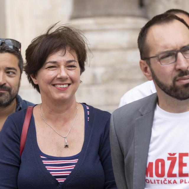 """Dragan Markovina, Tamara Visković i Tomislav Tomašević iz platforme """"Možemo"""""""