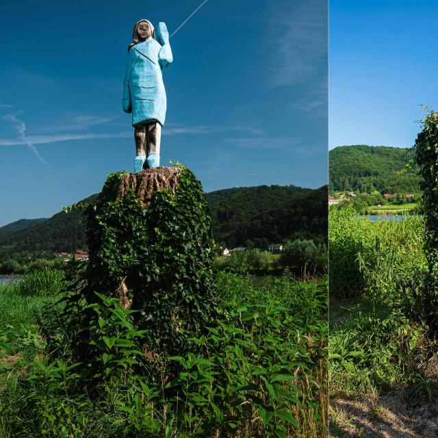 Skulptura Melanije Trump postavljena je u srpnju prošle godine, a prije nekoliko dana je uklonjena nakon što ju je netko zapalio