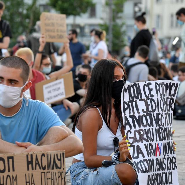 Prizor s trećeg dana prosvjeda u Beogradu