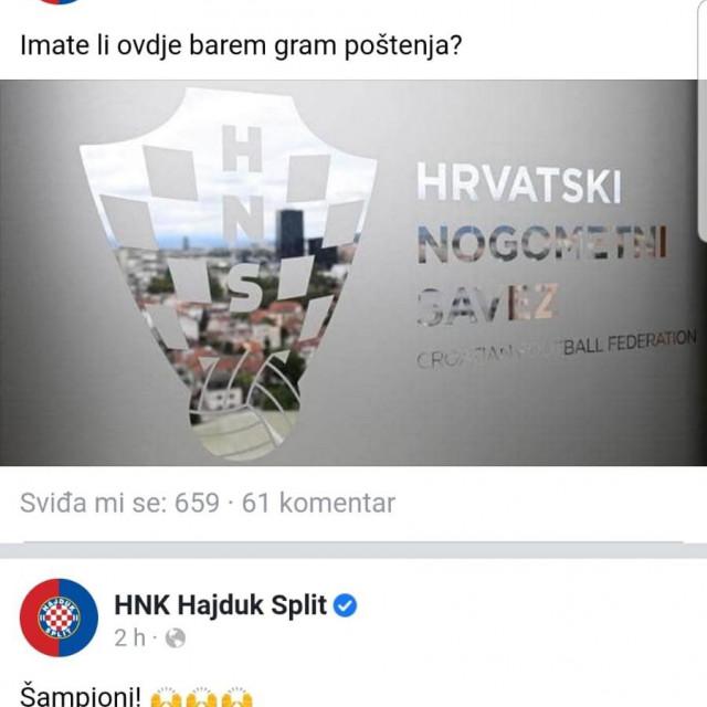 Hajduk je preko društvenih mreža zatražio pravdu za svoju juniorsku momčad pogođenu odlukom HNS-a