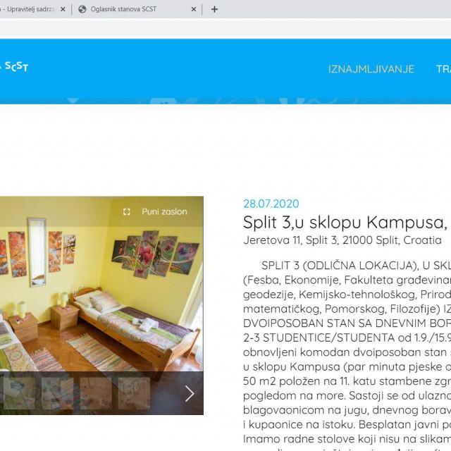 Ponuda stanova na novoj aplikaciji splitskog Studentskog centra