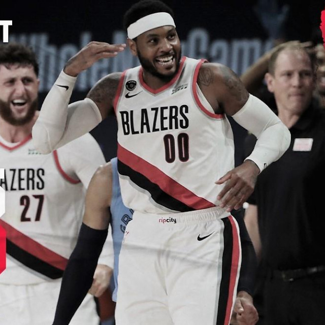 Portland Trail Blazers - Memphis Grizzlies 140:135 (s lijeva, Mario Hezonja, Jusuf Nurkić i Carmelo Anthony)