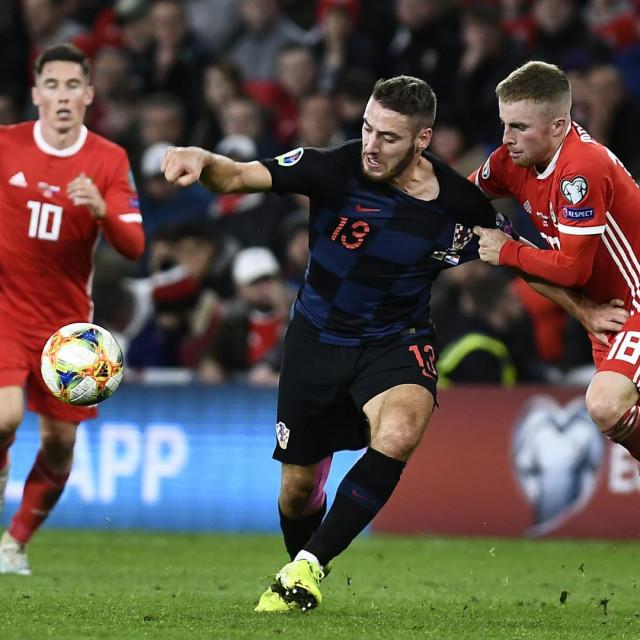 Cardiff, Wales, 131019.<br /> Cardiff City Stadium.<br /> Kvalifikacijska utakmica izmedju Hrvatske i Walesa za Euro Cup 2020.<br /> Na fotografiji: Nikola Vlasic.<br />