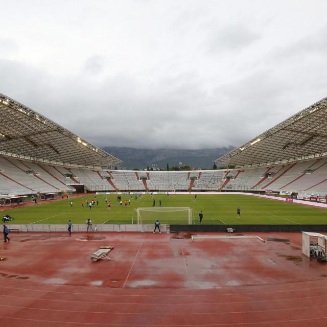 Split, 050620.<br /> Stadion Poljud.<br /> Utakmica 27. kola HT Prve lige, HNK Hajduk - NK Inter na Poljudu zbog koronavirusa bez gledatelja.<br />