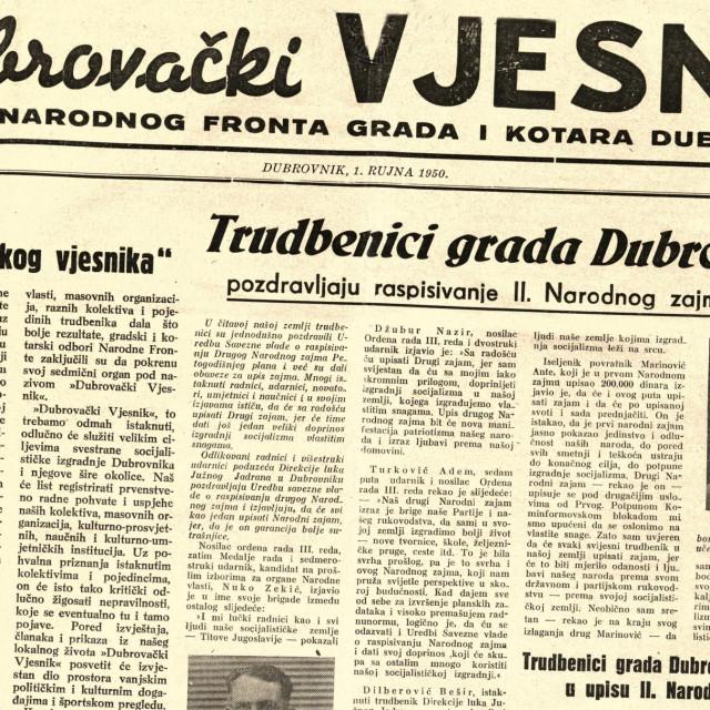 Naslovnica prvog broja Dubrovačkog vjesnika koja je ugledala svjetlo dana 1. rujna 1950.