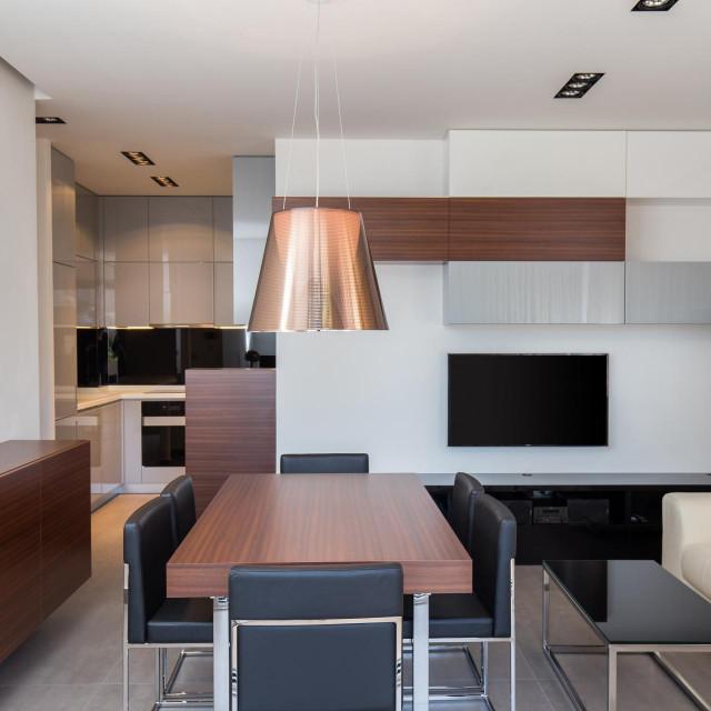 Stanom dominiraju sivi, bijeli i crni tonovi, koji u kombinaciji s drvenim elementima i probranim rasvjetnim tijelima čine moderan dizajn