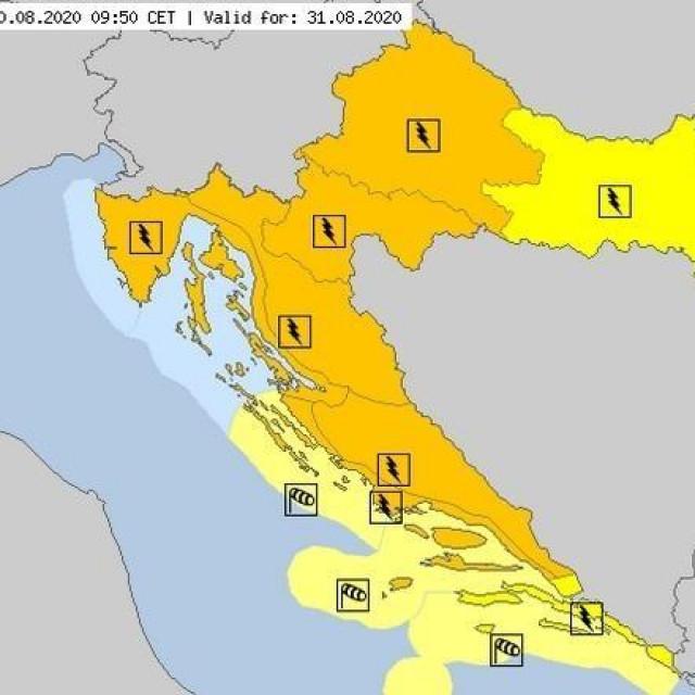 upaljeni su meteoalarmi za cijelu zemlju za idućih nekoliko dana