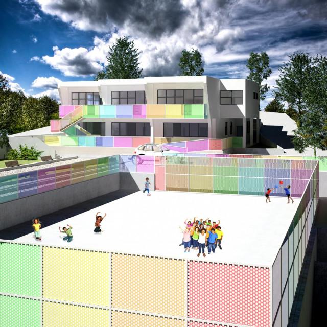 Računalna simulacija izgleda budućeg objekta, gledano iz smjera jugoistoka