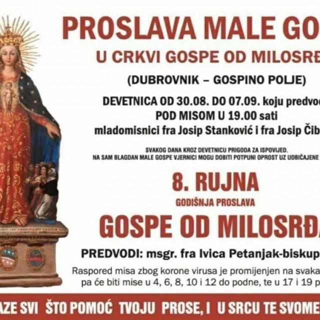 Proslava male gospe u svetištu u Dubrovniku