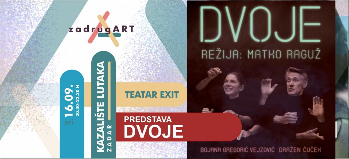 """Umjesto """"Sutra (ni)je novi dan, u Kazalište lutaka nam stiže predstava """"DVOJE"""" s Bojanom Gregorić Vejzović i Draženom Čučekom"""