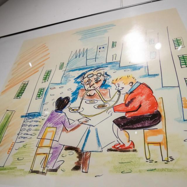 """U izlozbenom prostoru u Knezevoj palaci Narodnog muzeja Zadar otvorena je izlozba """"Hrana na crtezima Federica Fellinija"""".<br />"""