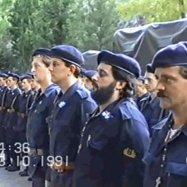 Osnovanje je 1. satnija mornaričko-desantnog pješaštva HV-a Ratne luke u Pločama