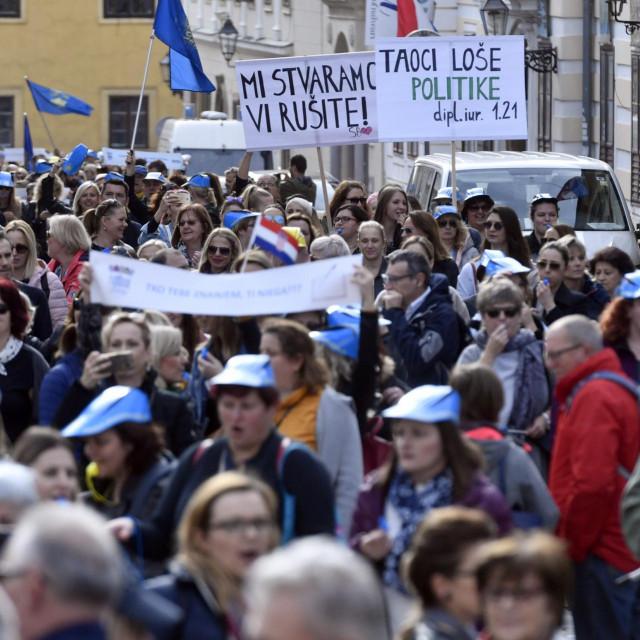 Prizor s lanjskog prosvjeda učitelja na Markovu trgu