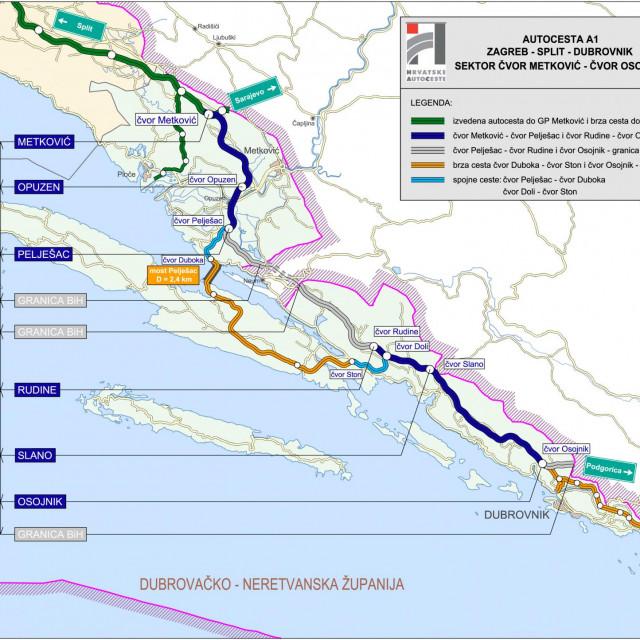Trasa buduće autoceste od Ploča do Dubrovnika