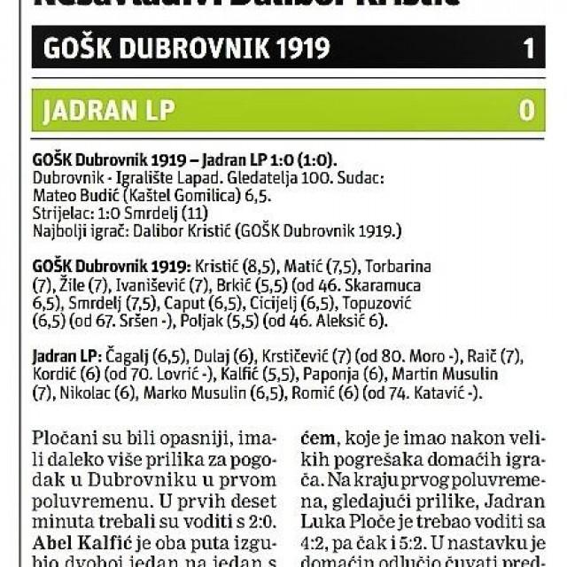 Slobodna Dalmacija, Treća HNL - jug, 15. kolo, 30. studenog 2019. godine, Dubrovnik: GOŠK Dubrovnik 1919. - Jadran Luka Ploče 1:0