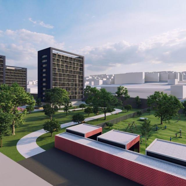 Simulacija POS-ovih zgrada na Prometovom parkiralištu