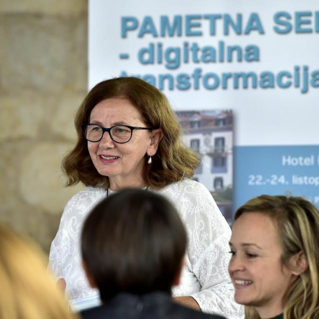 Hvar, 221020<br /> Konferencija Pametna sela - digitalna transformacija u organizaciji Poduzetnickog centra Scala odrzala se u hvarskom hotelu Park.<br /> Na fotografiji: Mazana Jelavic i Tanja Polegubic<br />