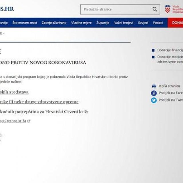 """Na Vladinoj stranici za borbu protiv korone Koronavirus.hr aktivirana je crvena traka na kojoj stoji """"Donacije"""""""