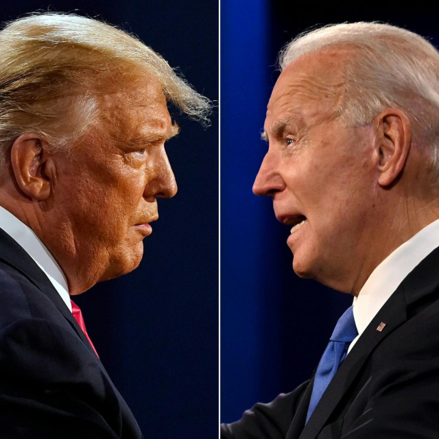 "(FILES)(COMBO) This combination of file pictures created on October 22, 2020 shows US President Donald Trump (L) and Democratic Presidential candidate and former US Vice President Joe Biden during the final presidential debate at Belmont University in Nashville, Tennessee, on October 22, 2020. - US President Donald Trump on October 26, 2020 taunted opponent Joe Biden for forgetting his name and calling him ""George"" just a week before the election. Trump, 74, has often accused Biden, 77, of being senile as the two candidates battle it out ahead of the November 3 vote. Joe Biden's habit of verbal gaffes reemerged on October 25, 2020 evening when he struggled to remember Trump's name as he addressed a virtual concert by TV link.He twice called his opponent ""George"" -- perhaps a reference to one of the Bush presidents. (Photos by Morry GASH and JIM WATSON/AFP)"