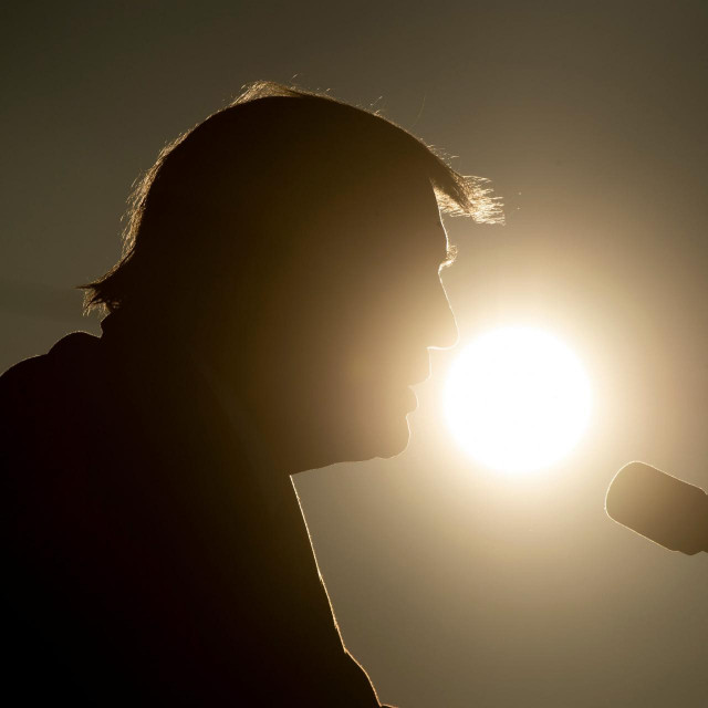 TOPSHOT - US President Donald Trump speaks during a Make America Great Again rally at La Crosse Fairgrounds Speedway on October 27, 2020, in West Salem, Wisconsin. (Photo by Brendan Smialowski/AFP)