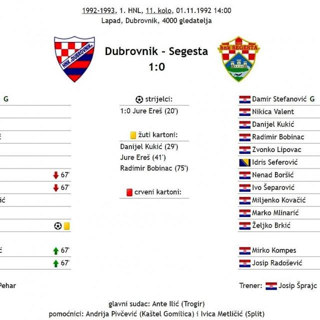 Prva prvoligaška utakmica Dubrovnika u Dubrovniku - 1. studenog 1992. protiv Segeste
