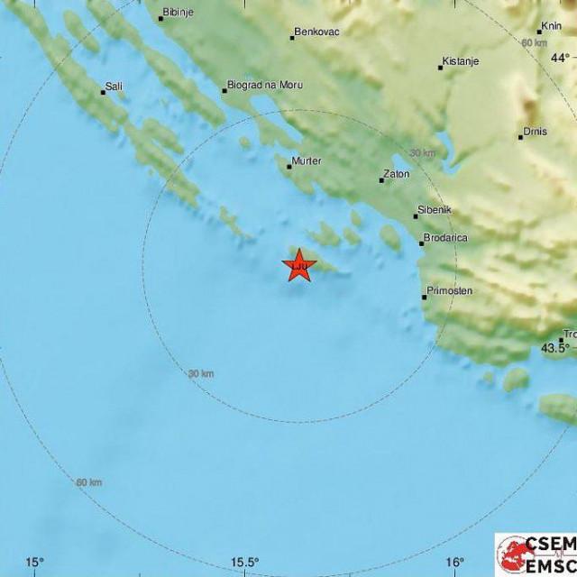Epicntar potresa je bio kod otoka Žirje