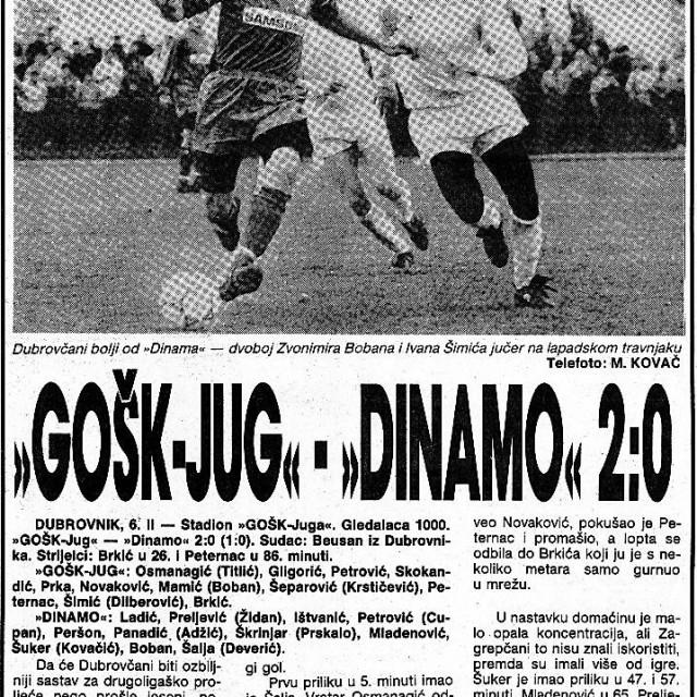 Tako je bilo 1991. godine - GOŠK Jug je na Lapadu, u pripremnim utakmicama za proljetni dio prvenstva, dobio Dinamo na Lapadu s 2:0