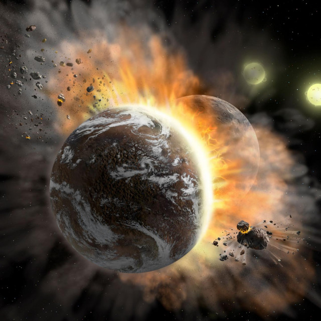 "This undated NASA image obtained January 28, 2020 shows an artist�s concept illustration of a catastrophic collision between two rocky exoplanets in the planetary system BD +20 307, turning both into dusty debris. - Ten years ago, scientists speculated that the warm dust in this system was a result of a planet-to-planet collision. Now, NASA's SOFIA mission found even more warm dust, further supporting that two rocky exoplanets collided. This helps build a more complete picture of our own solar system�s history. Such a collision could be similar to the type of catastrophic event that ultimately created our Moon. (Photo by Lynette Cook/NASA/AFP)/RESTRICTED TO EDITORIAL USE - MANDATORY CREDIT ""AFP PHOTO /NASA/SOFIA/Lynette Cook/HANDOUT "" - NO MARKETING - NO ADVERTISING CAMPAIGNS - DISTRIBUTED AS A SERVICE TO CLIENTS"