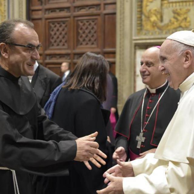 Fra Marinko Šakota na audijenciji s papom Franom