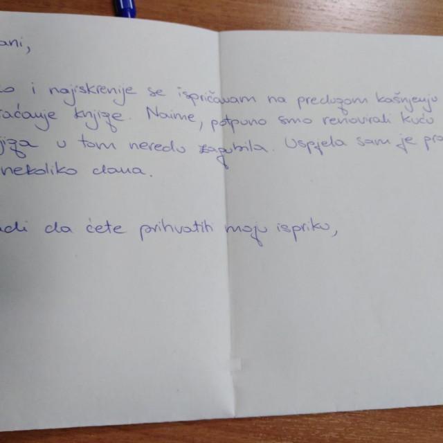 Pismo isprike zbog renoviranja kuće, s priloženih 150 kuna. Isprika je prihvaćena, novac odbijen