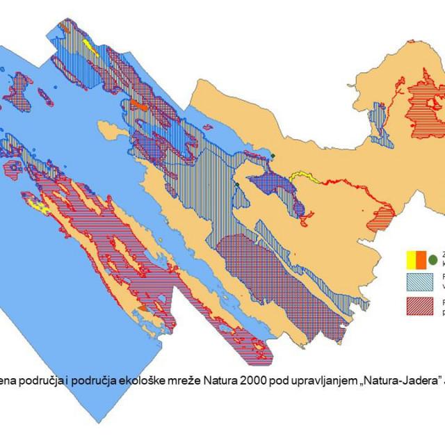 Karta područja djelovanja Natura Jadere