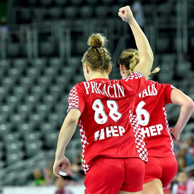 Kristina Prkačin slavi pogodak protiv Njemačke u kvalifikacijama za EP 2020. foto: Ronald Goršić / CROPIX