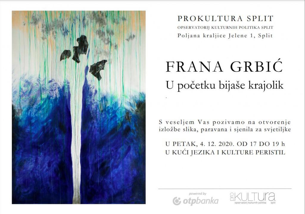 Pozivnica za izložbu Frane Grbić
