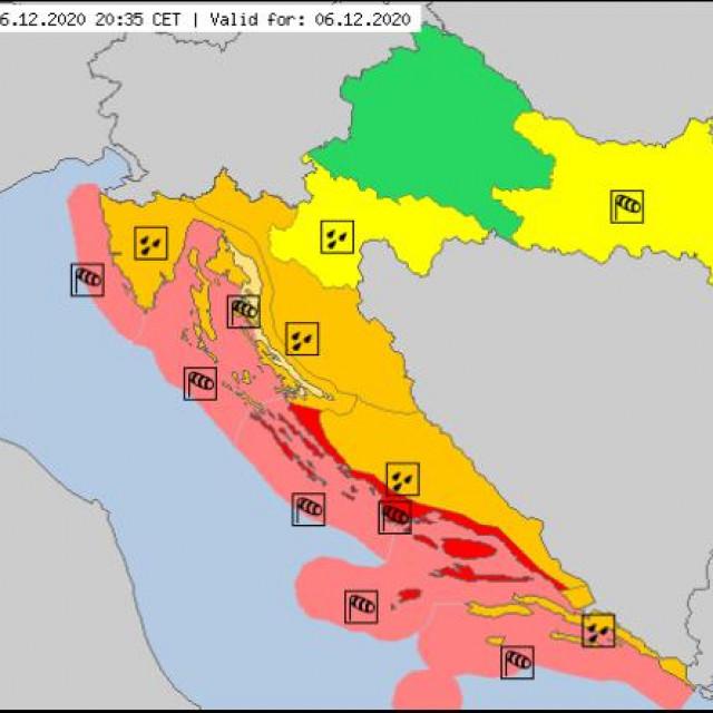 narančasto upozorenje Meteoalarma za Dubrovnik
