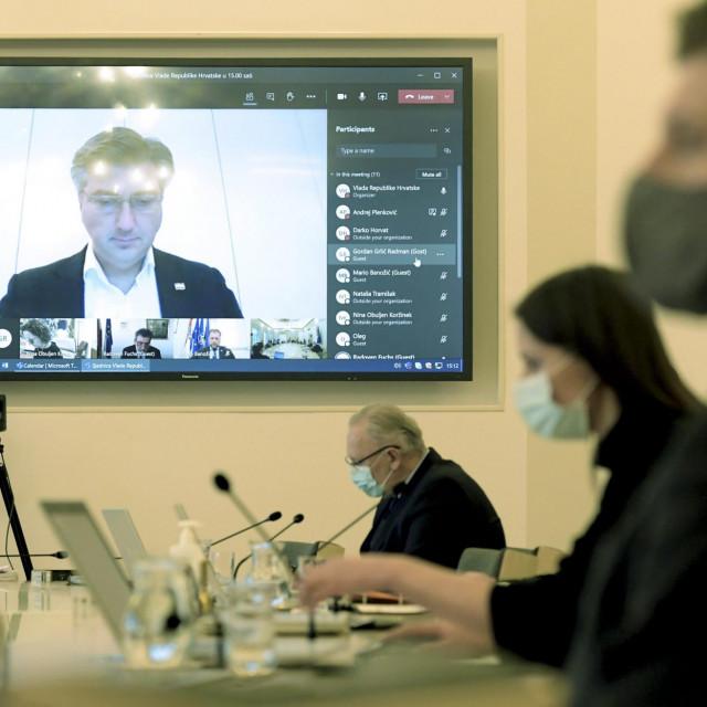 Sjednicu Vlade vodio je premijer Plenković koji se nalazi u izolaciji