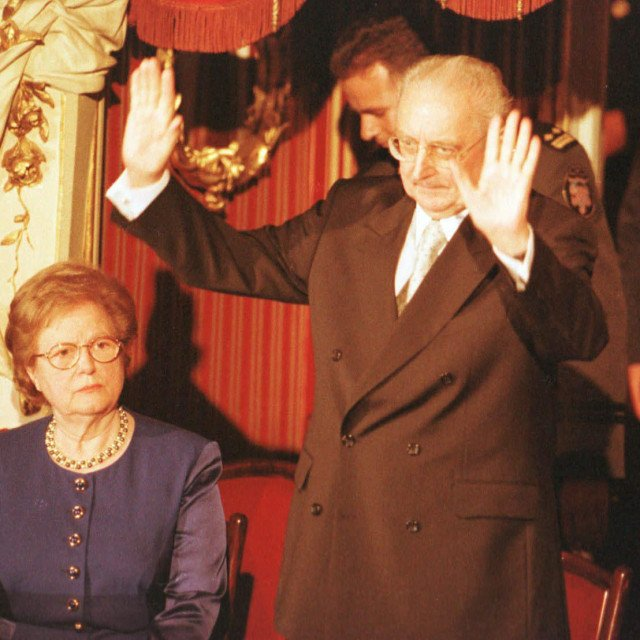 Ankica i Franjo Tuđman, proslava 10 godina osnutka HDZ-a