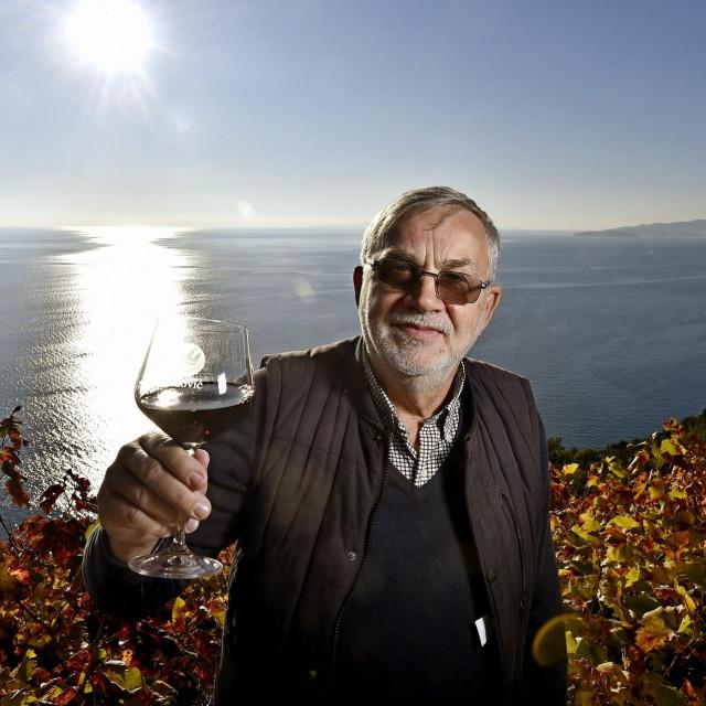 Radović u svom vinogradu na Dingaču u jesenskim bojama