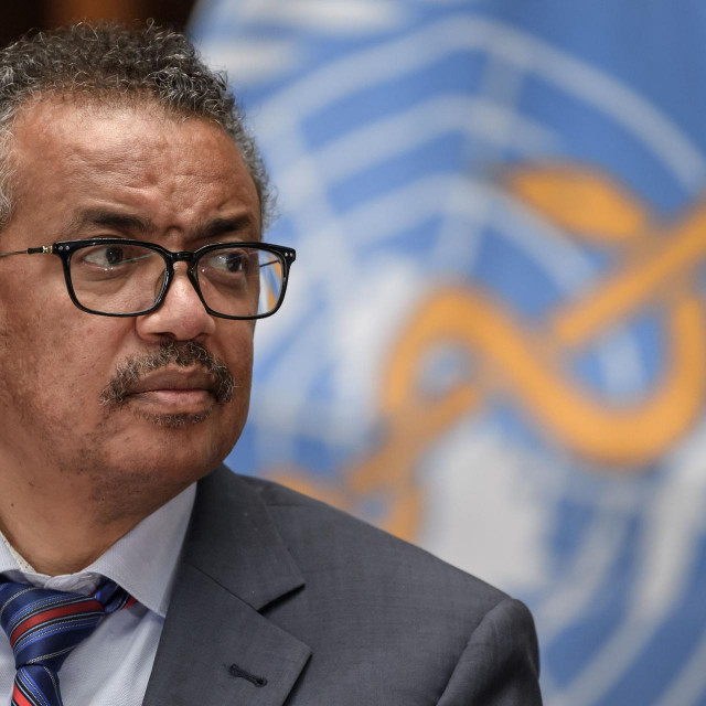 World Health Organization (WHO) Director-General Tedros Adhanom Ghebreyesus attends a press conference organised by the Geneva Association of United Nations Correspondents (ACANU) amid the COVID-19 outbreak, caused by the novel coronavirus, on July 3, 2020 at the WHO headquarters in Geneva. (Photo by Fabrice COFFRINI/POOL/AFP)