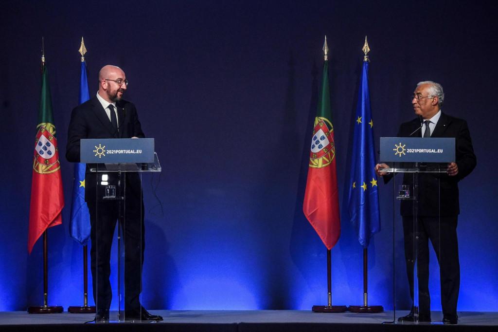 Predsjednik Vijeća EU-a Charles Michel i portugalski premijer Antonio Costa na ceremoniji portugalskog preuzimanja predsjedanja<br /> (Photo by PATRICIA DE MELO MOREIRA/AFP)