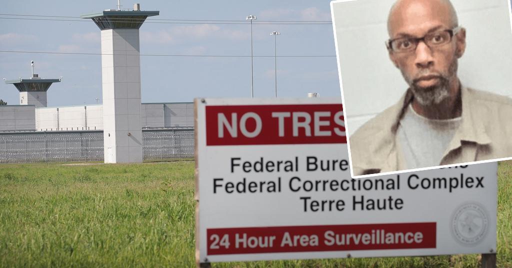 Savezni zatvor u gradu Terre Haute u državi Indiani; u pravokutniku: Dustin Higgs